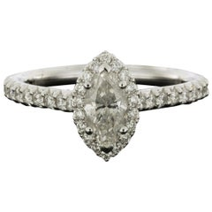 White Gold 1.25 Carat Marquise Diamond Halo Engagement Ring