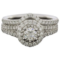White Gold 1.25 Carat Pear Diamond Halo Engagement Ring