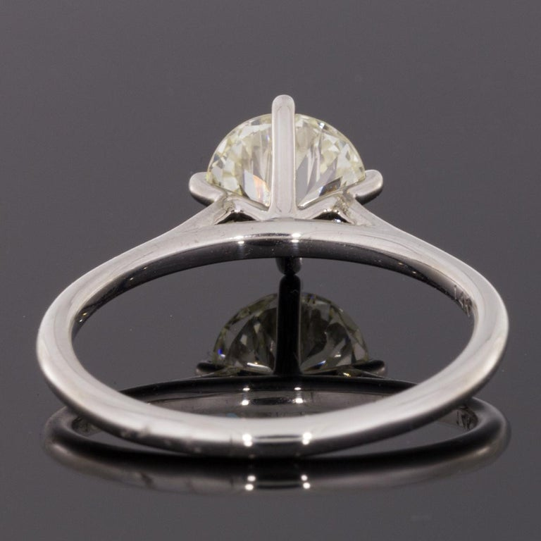 Round Cut White Gold 1.32 Carat Certified Old European Diamond Solitaire Engagement Ring For Sale