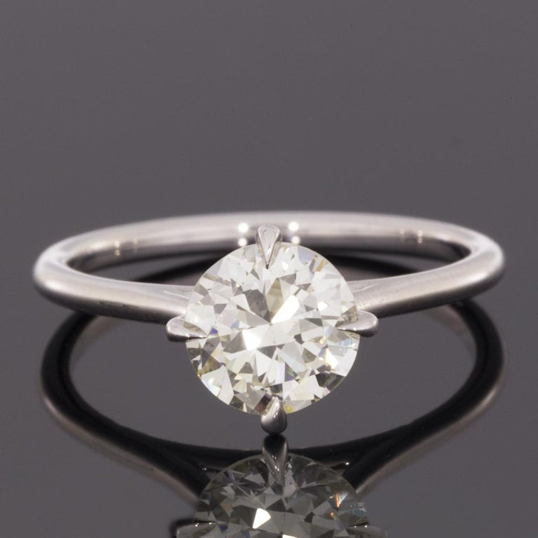 White Gold 1.32 Carat Certified Old European Diamond Solitaire Engagement Ring In Excellent Condition For Sale In Columbia, MO