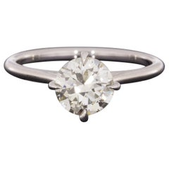 White Gold 1.32 Carat Certified Old European Diamond Solitaire Engagement Ring