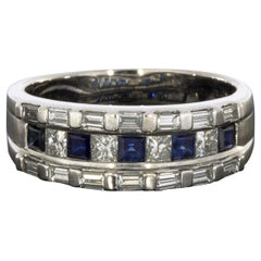 White Gold 1.33 Carat Sapphire and Diamond Baguette Frame Band Ring