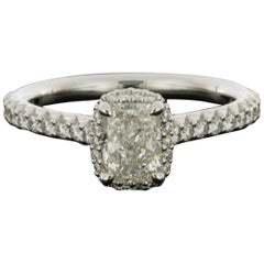 White Gold 1.37 Carat Radiant Diamond Halo Engagement Ring