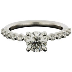 White Gold 1.43 Carat Round Diamond Solitaire Engagement Ring