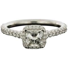 White Gold 1.46 Carat Princess Diamond Halo Engagement Ring
