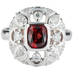 White Gold 1.51 Carat Cushion Red Spinel Cocktail Ring with Diamond Accents