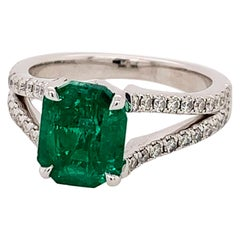 White Gold 1.70 Carat Natural Green Emerald and Diamond Engagement Ring Gemstone
