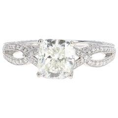 White Gold 1.71 Carat Cushion Cut Diamond Engagement Ring
