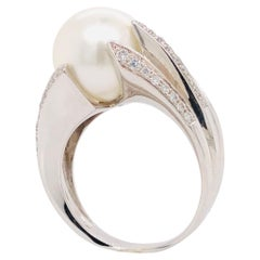 White Gold 18 Carat, Cultured Pearl and White Diamonds Ring