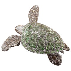 White Gold 18 Carat Tortoise Brooche with Tsavorite and Diamonds