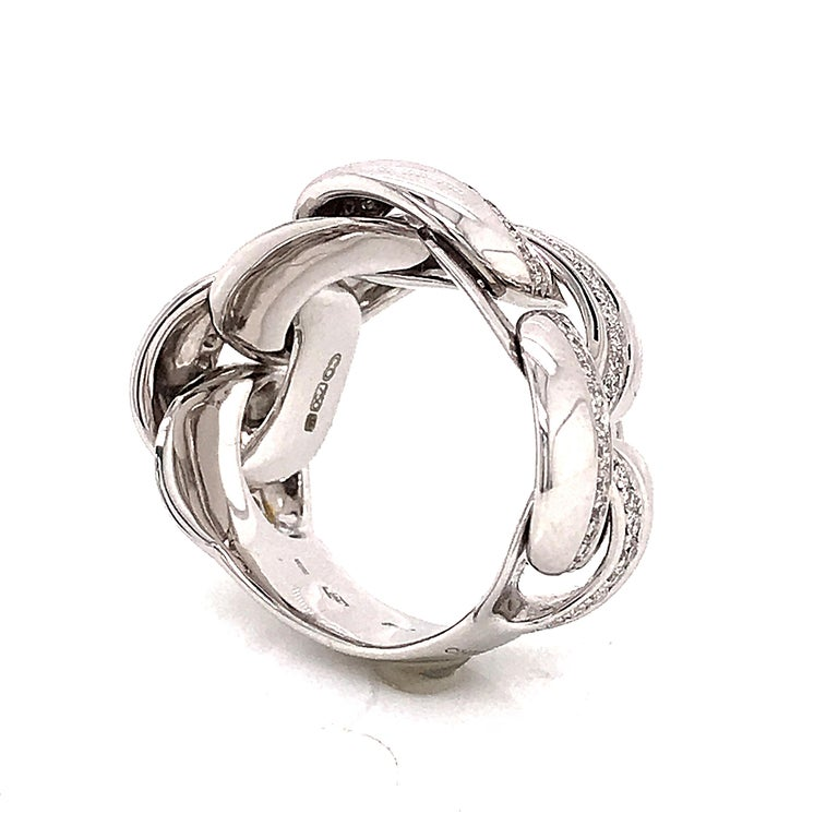 White Gold 18 Karat Link with Diamonds Round Shape Flexible Ring For Sale 5