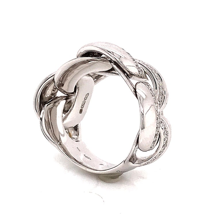 White Gold 18 Karat Link with Diamonds Round Shape Flexible Ring For Sale 6