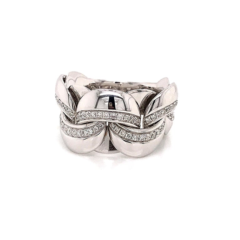 White Gold 18 Karat Link with Diamonds Round Shape Flexible Ring For Sale 7