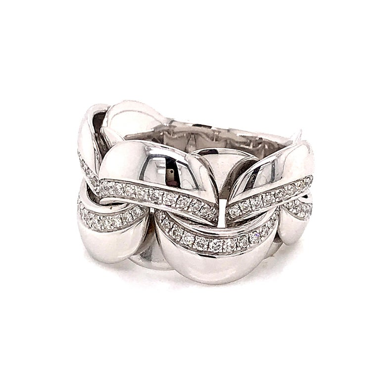 White Gold 18 Karat Link with Diamonds Round Shape Flexible Ring For Sale 8