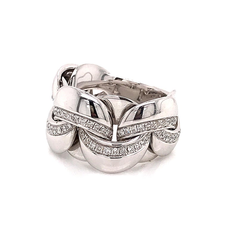 White Gold 18 Karat Link with Diamonds Round Shape Flexible Ring For Sale 9