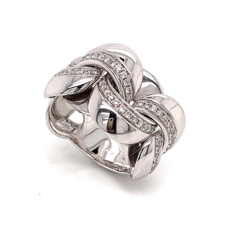 White Gold 18 K Link with Diamonds Round Shape Flexible Ring  Diamond Round Shape 0.540 Ct  Weight of White Gold 11.50 Grams  Us Size 6.5 French Size 53