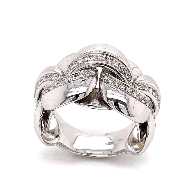 Round Cut White Gold 18 Karat Link with Diamonds Round Shape Flexible Ring For Sale
