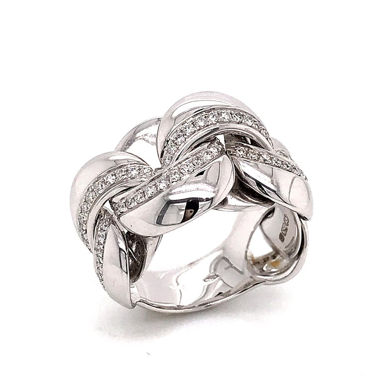 White Gold 18 Karat Link with Diamonds Round Shape Flexible Ring In New Condition For Sale In Vannes, FR