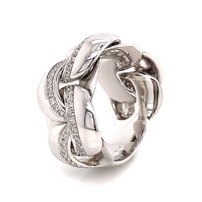 White Gold 18 Karat Link with Diamonds Round Shape Flexible Ring For Sale 2
