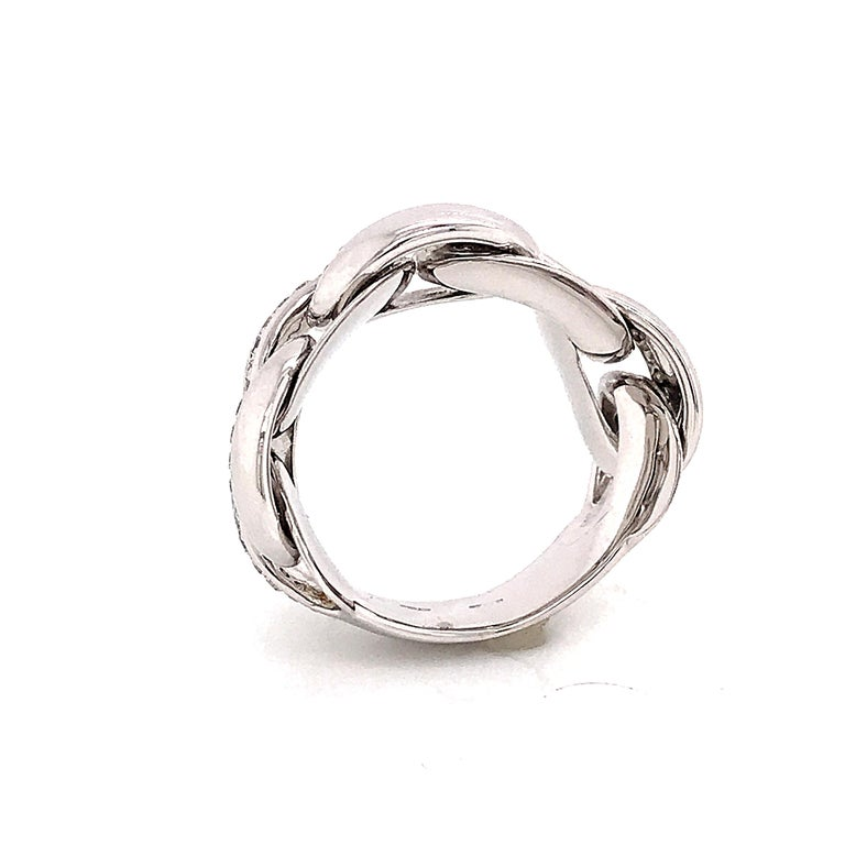 White Gold 18 Karat Link with Diamonds Round Shape Flexible Ring For Sale 3