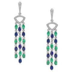 Gianni Lazzaro Gold 18 Karat Diamond Emerald Blue Sapphire Dangling Earrings