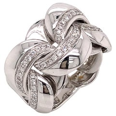 White Gold 18 Karat Link with Diamonds Round Shape Flexible Ring