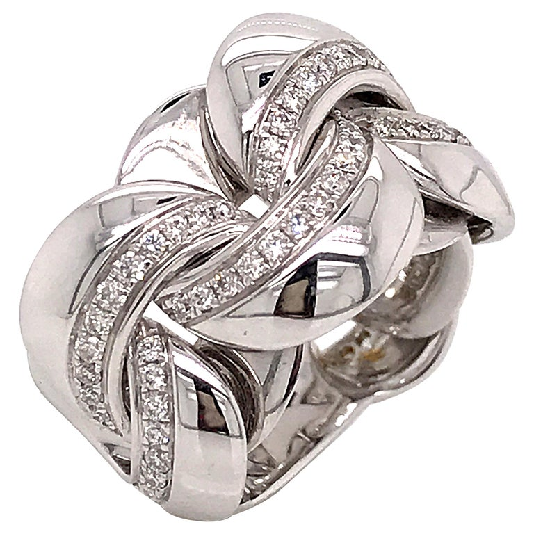 White Gold 18 Karat Link with Diamonds Round Shape Flexible Ring For Sale