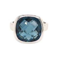 White Gold 18 Karat with London Blue Topaz Briolette Cut Ring