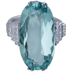 White Gold 18.02 Carat Aquamarine and Diamond Ring, circa 1980