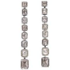 Nina Runsdorf White Gold 18.61 Carat Organic Grey Diamond Line Earrings