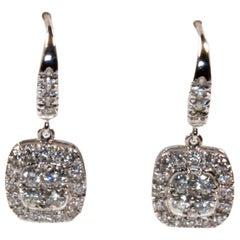 White Gold 18k , Diamond Earrings