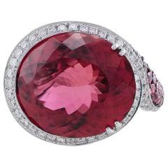 White Gold 19 Carat Pink Tourmaline Pink Sapphire Diamond Ring
