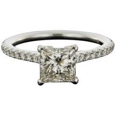 White Gold 1.91 Carat Princess Diamond Halo Engagement Ring