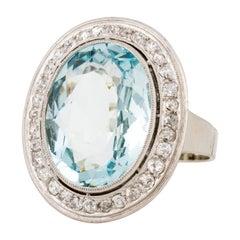 White Gold 1940s Aquamarine Diamond Ring