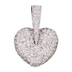 White Gold 2.00 Carat Pave Diamond Puffed Heart Pendant