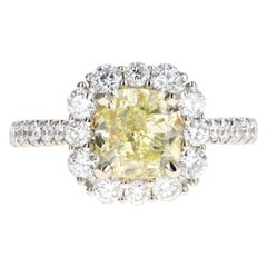 White Gold 2.01 Carat Fancy Yellow Cushion Cut Diamond Halo Engagement Ring