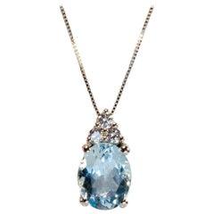 White Gold 18k ,2.10 Carat Blue Oval Aquamarine and Diamond Drop Necklace