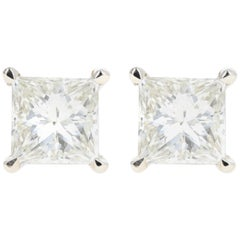 White Gold 2.10 Carat Princess Cut Diamond Stud Earrings