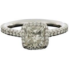 White Gold 2.11 Carat Princess Diamond Halo Engagement Ring