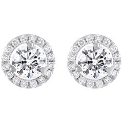White Gold 2.15 Carat Diamond Halo Studs
