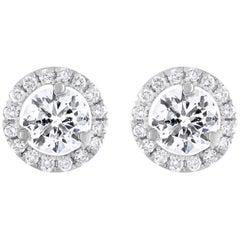 White Gold 2.15 Carat Diamond Halo Studs