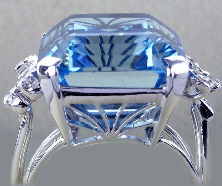 White Gold 21.73 Carat Aquamarine and Diamond Ring, circa 1940 For Sale 2