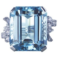 White Gold 21.73 Carat Aquamarine and Diamond Ring, circa 1940