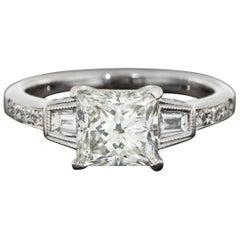 White Gold 2.22 Carat GIA Certified Princess Diamond Deco Engagement Ring