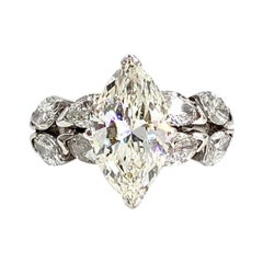 White Gold 2.35 Carat Center Marquise Diamond Ring