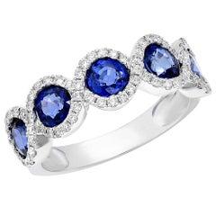 White Gold 2.35 Carat Sapphire Diamond Band