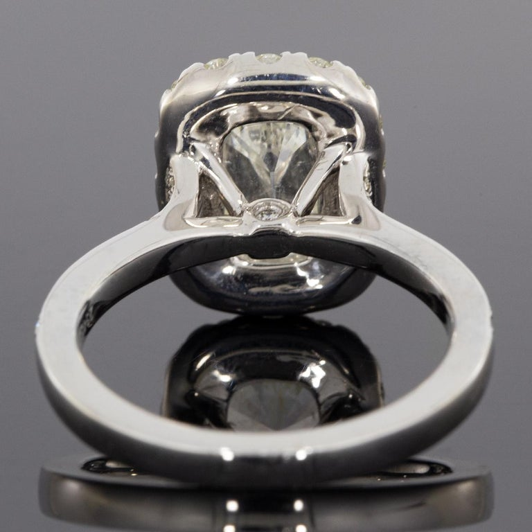 Cushion Cut White Gold GIA Certified 2.59 Carat Cushion Diamond Halo Engagement Ring For Sale