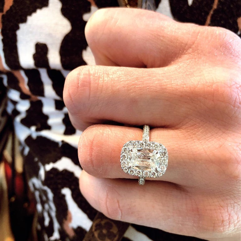 White Gold GIA Certified 2.59 Carat Cushion Diamond Halo Engagement Ring In Excellent Condition For Sale In Columbia, MO