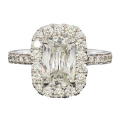 White Gold 2.59 carat Cushion Diamond Halo Engagement Ring
