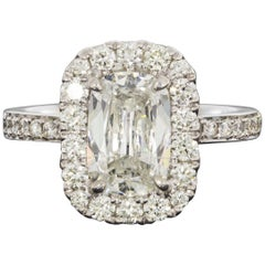 White Gold GIA Certified 2.59 Carat Cushion Diamond Halo Engagement Ring